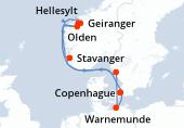 Copenhague, Navegación, Geiranger, Hellesylt, Olden, Stavanger, Gothenburg, Warnemunde, Copenhague