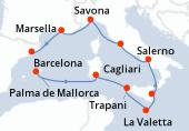 Palma de Mallorca, Navegación, Cagliari, Trapani, La Valetta, Catania, Salerno, Civitavecchia - Roma, Savona, Marsella, Barcelona