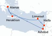 Atenas, Navegación, Limassol, Haifa, Haifa, Ashdod, Ashdod, Navegación, Heraklion, Atenas