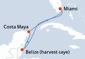 Miami, Navegación, Belize (harvest caye), Costa Maya, Navegación, Miami