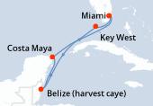 Miami, Key West, Navegación, Belize (harvest caye), Costa Maya, Navegación, Miami
