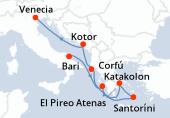 Bari, Katakolon, Santoríni, El Pireo Atenas, Corfú, Kotor, Venecia
