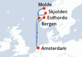 Amsterdam, Navegación, Navegación, Eidfiordo, Navegación, Skjolden, Molde, Bergen, Navegación, Amsterdam