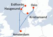 Amsterdam, Navegación, Navegación, Oslo, Kristiansand, Navegación, Eidfiordo, Haugesund, Navegación, Amsterdam