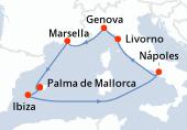 Palma de Mallorca, Palma de Mallorca, Ibiza, Navegación, Nápoles, Livorno, Genova, Marsella, Palma de Mallorca