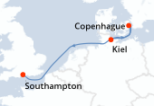 Kiel, Copenhague, Navegación, Southampton