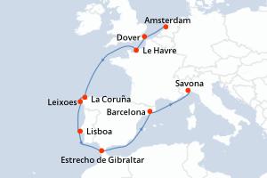 Amsterdam, Dover, Le Havre, Navegación, La Coruña, Leixoes, Lisboa, Estrecho de Gibraltar, Navegación, Barcelona, Savona