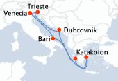 Venecia, Trieste, Dubrovnik, Katakolon, El Pireo Atenas, Navegación, Bari, Venecia