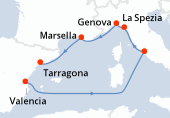 Valencia, Navegación, Civitavecchia - Roma, La Spezia, Genova, Marsella, Tarragona