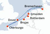 Bremerhaven, Ijmuiden, Rotterdam, Brujas, Cherburgo, Dover, Navegación, Bremerhaven