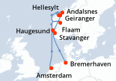 Amsterdam, Navegación, Haugesund, Geiranger, Hellesylt, Andalsnes, Flaam, Stavanger, Navegación, Bremerhaven