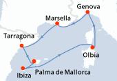 Palma de Mallorca, Palma de Mallorca, Ibiza, Ibiza, Olbia, Genova, Marsella, Tarragona, Palma de Mallorca