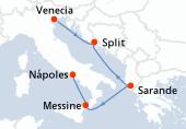 Venecia, Split, Sarande, Messine, Nápoles