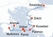 Atenas, Atenas, Nafplion, Nafplion, Paros, Paros, Delos, Delos, Mykonos, Mykonos, Patmos, Patmos, Kusadasi, Kusadasi, Dikili, Dikili, Estambul, Estambul