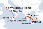 Atenas, Atenas, Patmos, Patmos, Kamares, Kamares, Canal de Corinto, Canal de Corinto, Itea, Itea, Katakolon, Katakolon, Taormina, Taormina, Nápoles, Nápoles, Civitavecchia - Roma, Civitavecchia - Roma