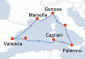 Valencia, Marsella, Genova, Civitavecchia - Roma, Palermo, Cagliari, Palma de Mallorca, Valencia