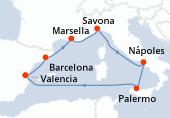 Valencia, Barcelona, Marsella, Savona, Nápoles, Palermo, Navegación, Valencia