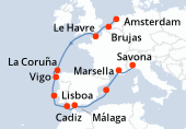 Amsterdam, Brujas, Le Havre, Navegación, La Coruña, Vigo, Lisboa, Cadiz, Málaga, Navegación, Palma de Mallorca, Marsella, Savona
