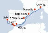 Valencia, Barcelona, Savona, Marsella, Navegación, Málaga, Cadiz, Lisboa, Estrecho de Gibraltar, Navegación, Valencia
