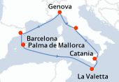 Palma de Mallorca, Navegación, La Valetta, Catania, Civitavecchia - Roma, Genova, Barcelona, Palma de Mallorca