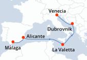 Málaga, Alicante, Navegación, La Valetta, Navegación, Dubrovnik, Venecia