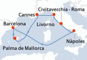 Civitavecchia - Roma, Livorno, Cannes, Palma de Mallorca, Barcelona, Navegación, Nápoles, Civitavecchia - Roma