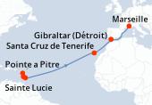 Pointe a Pitre, Sainte Lucie, La Barbade, Navigation, Navigation, Navigation, Navigation, Navigation, Navigation, Santa Cruz de Tenerife, Navigation, Gibraltar (Détroit), Navigation, Marseille