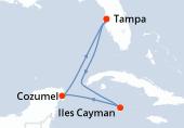 Tampa, Navigation, Iles Cayman, Cozumel, Navigation, Tampa