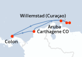 Colon, Carthagene, Navigation, Willemstad (Curaçao), Kralendijk, Aruba, Navigation, Colon