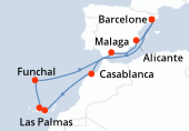 Barcelone, Navigation, Casablanca, Navigation, Las Palmas, Santa Cruz de Tenerife, Funchal, Navigation, Malaga, Alicante, Barcelone