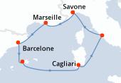 Savone, Marseille, Barcelone, Palma de Majorque, Palma de Majorque, Cagliari, Civitavecchia - Rome, Savone