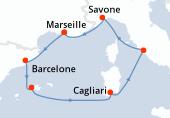 Marseille, Barcelone, Palma de Majorque, Palma de Majorque, Cagliari, Civitavecchia - Rome, Savone, Marseille