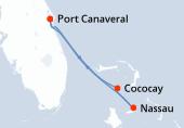 Orlando, Cococay, Nassau, Navigation, Orlando