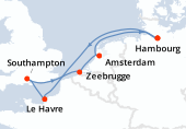 Hambourg, Navigation, Le Havre, Southampton, Zeebrugge, Amsterdam, Amsterdam, Hambourg