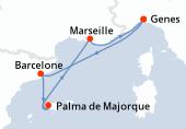 Genes, Barcelone, Palma de Majorque, Palma de Majorque, Marseille, Genes