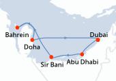 Dubai, Abu Dhabi, Sir Bani, Navigation, Bahrein, Doha, Dubai, Dubai