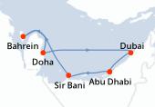 Abu Dhabi, Sir Bani, Navigation, Bahrein, Doha, Dubai, Dubai, Abu Dhabi