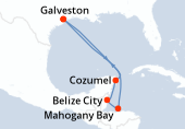 Galveston, Navigation, Navigation, Mahogany Bay, Belize City, Cozumel, Navigation, Galveston