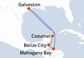 Galveston, Navigation, Cozumel, Belize City, Mahogany Bay, Navigation, Navigation, Galveston