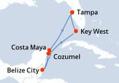 Tampa, Key West, Navigation, Cozumel, Belize City, Costa Maya, Navigation, Tampa