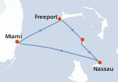 Miami, Freeport, Great Stirrup Cay, Nassau, Miami