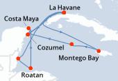 La Havane, La Havane, Navigation, Belize City, Roatan, Costa Maya, Cozumel, La Havane, La Havane, La Havane, Navigation, Montego Bay, Georgetown Caimans, Cozumel, La Havane