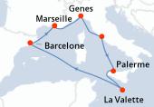 Marseille, Genes, Civitavecchia - Rome, Palerme, La Valette, Navigation, Barcelone, Marseille