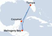 Tampa, Navigation, Mahogany Bay, Cozumel, Navigation, Tampa