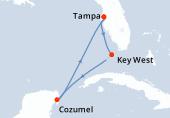 Tampa, Key West, Navigation, Cozumel, Navigation, Tampa
