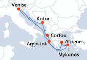Venise, Kotor, Corfou, Athenes, Mykonos, Argostoli, Navigation, Venise