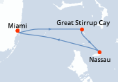 Miami, Great Stirrup Cay, Nassau, Miami