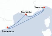 Barcelone, Marseille, Savone, Barcelone