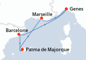 Genes, Marseille, Palma de Majorque, Barcelone, Genes