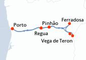 Porto, Porto, Porto, Leverinho, Regua, Pinhão, Vega de Teron, Barca d Alva, Ferradosa, Pinhão, Regua, Porto, Porto